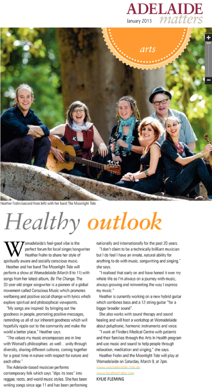 Heather Frahn & The Moonlight Tide featured in Adelaide Matters Magazine. Pictured Daniel Seymour, Heather Frahn, Michelle Byrne, Michaela Burger, Neil Underwood, Kat Stevens.