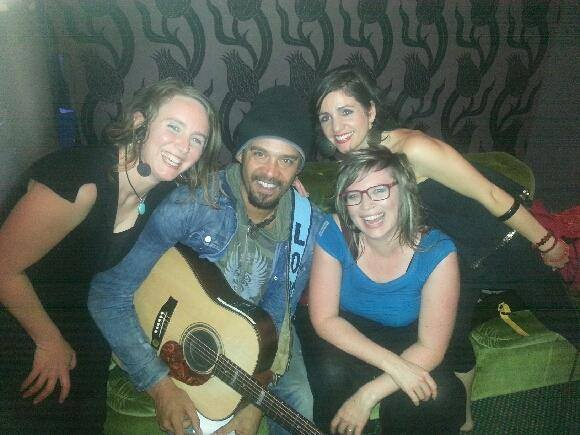 Heather Frahn and The Moonlight Tide backstage with Michael Franti