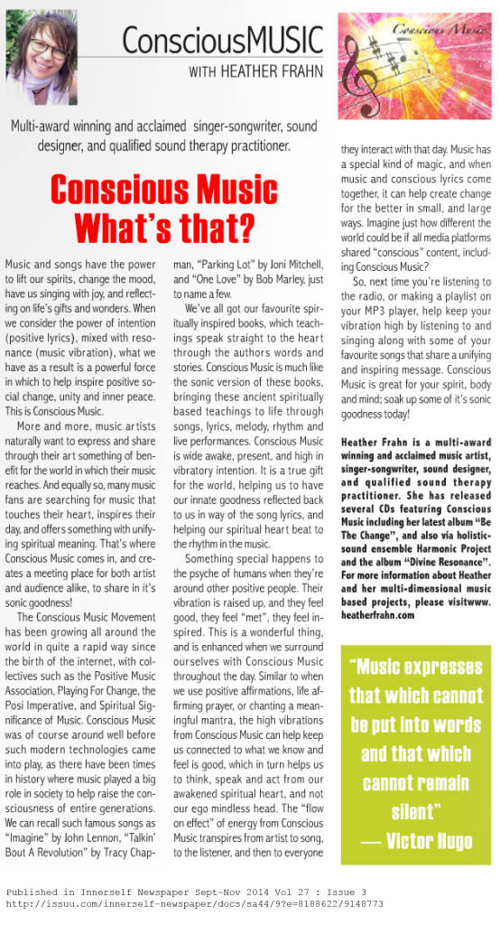 Heather Frahn writes about Conscious Music in Innerself Newspaper