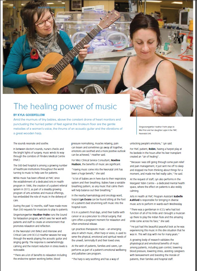 Heather Frahn therapeutic sound and music Arts in Health at FMC
