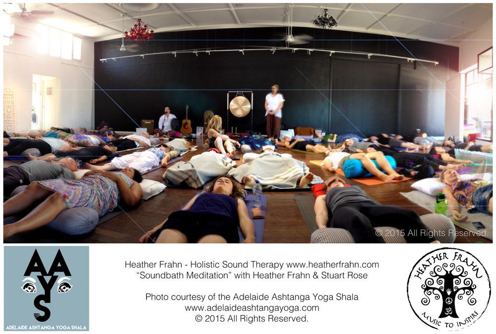 Photo taken at the Adelaide Ashtanga Yoga Shala during Heather Frahn's Therapeutic Soundbath Meditation, with musician Stuart Rose.