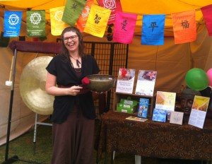 Heather Frahn Holistic Sound Therapy Stall with Himalayan Singing Bowls, Chinese Wind Gong, and Relaxation-Meditation-Yoga Music.