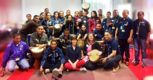 Heather Frahn with Marie Therese McInerney Drumming Percussion Workshop Timor Fellows 2015