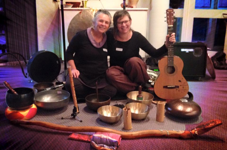 Mindfulness Teacher Salima Bond, and Sound Therapist Heather Frahn, at the Sophia Centre, Adelaide, May 2016.